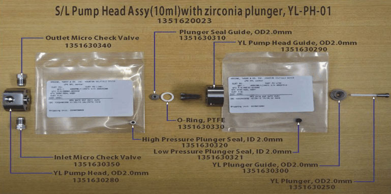 S L Pump Head Assy (10ml) with zirconia plunger, YL-PH-01 YL1351620023
